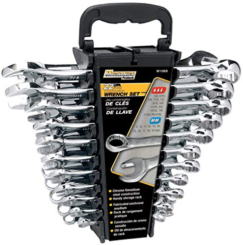 Performance Tool W1069 SAE/Metric Polished Combo Wrench Set, 22-Piece With Rack, 22pc SAE/Metric Combo Wrench Set