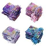 100PZ Multicolor Patrón Coral Bolsas de Organza de Regalo 9x12cm Banquete de...