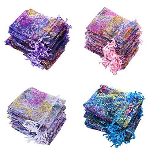 100 Multicolore Sacchetti Organza 9x12cm Sacchetti Regalo in Organza Trasparente con Cordoncino Sacchetto di Gioielli Sacchetto del Regalo Buste Gioielli Coulisse Sacchettini Matrimonio Festa Favore