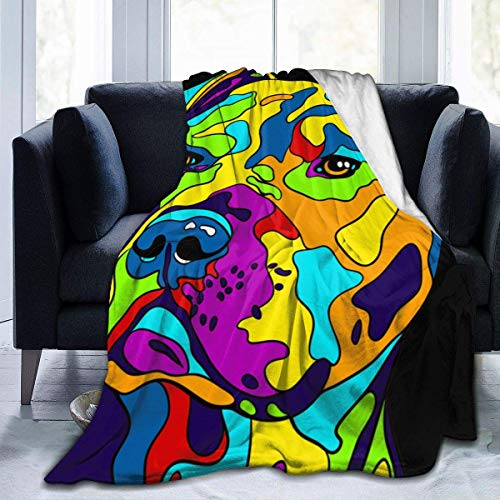 Popcorn In Spring Mehrfarbige amerikanische Pit Bull Terrier Extra weiche Decke Fuzzy Shaggy Decke Gemütliche Bequeme Decke Schlafsofa