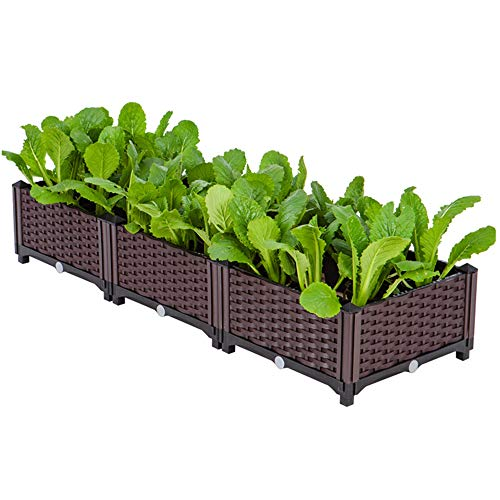 FMXYMC Plastic Square Raised Garden Bed, Indoor Outdoor Planter Box Kit, DIY Assemble Container for Growing Vegetables, Herbs, Flowers,3 Planter Boxes