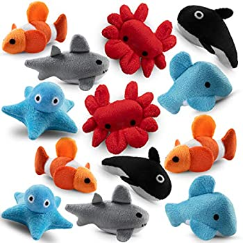 Bedwina Plush Sea Animals for Kids -  Pack of 24  3  Mini Stuffed Animal Toys   Sea Life Creatures Clownfish Crab Orca Octopus & Sharks for Babies & Toddlers