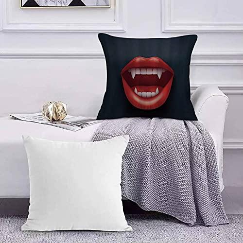 Ccstyle Moderne Dekorative Baumwolle Set Kissenbezug Vampire Graphic Vivid Mouth mit Zähnen Open Red Lips Kreatur der Nacht Hunge für Sofa Schlafzimmer Geeignet Kissen Cover Square Pillowcase