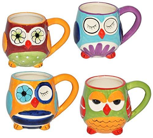 alles-meine.de GmbH 4 STK. Henkeltassen / Kaffeebecher - mit Eulen - groß - Keramik Trinktasse mit Henkel - Trinktassen / Kaffeepott / Kaffeetassen / Teetassen - Eulenmotiv Tasse..
