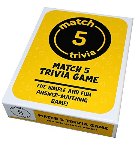 Match 5 Trivia Game - Fun for Adults, Family, Friends or a Party. Just Read Your Card, Write Down 5 Answers and See Who Matches. Even People who Don't Like Board Games Enjoy This Easy Game!
