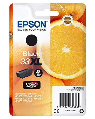 Epson 33 XL Serie Arancia Cartuccia Originale, XL, Nero, con Amazon Dash Replenishment Ready, Imballaggio standard