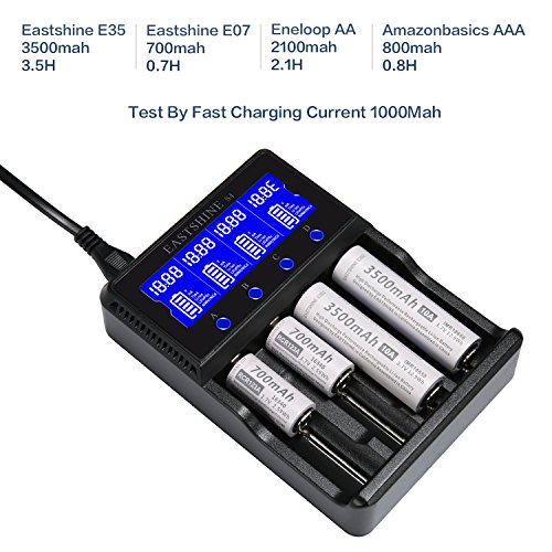 Universal Smart Battery Charger 4 Bay for Rechargeable Batteries NiMH NiCd AA AAA C Li-ion LiFePO4 IMR 18650 26650 14500 16340 18500 10440 18350 17670 RCR123a LCD Display UL Listed