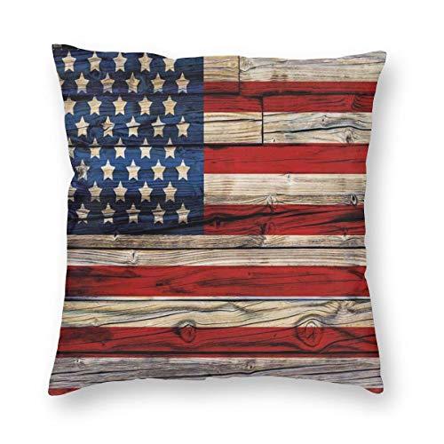 Funda de almohada NiBBuns con tablones de madera pintadas como bandera de Estados Unidos estilo patriótico país funda de cojín decorativa para decoración del hogar sofá almohada 45,7 x 45,7 cm