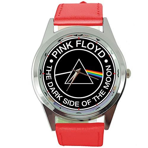 Taport® Dark Side Of The Moon à quartz ronde montre Bande en cuir véritable Rouge + Gratuit batterie de rechange + Sac Cadeau Gratuit