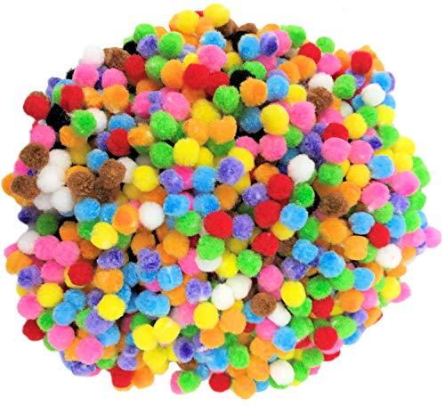 Kids B Crafty Pom Pom Crafts - Mini pompones pequeños para manualidades (500 colores surtidos, 8 mm, manualidades de Pascua para niños, manualidades navideñas, decoración