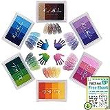Tampone di inchiostro, DazSpirit Timbri del tampone di inchiostro di impronte digitali Partner Diy Color lavabile per l'immaginazione di Kid Timbro di gomma Scrapbooking Card Making (6 Pacchi)