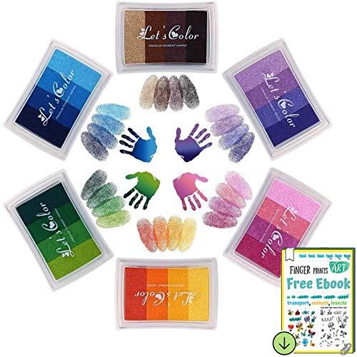 DazSpirit Tampons encreurs 6 Pack 24 Couleurs Coussins Tampons encreurs d'empreintes digitales Partenaire Bricolage Lavable pour Kid Imagination Rubber Stamp Scrapbooking Card Making