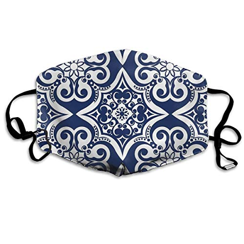 Dnwha Polyester Masker, Marineblauw Marokkaans Tegel Patroon, stofdicht Masker, Met Knopen om de Tightness aan te passen, Geschikt voor iedereen