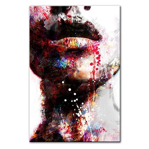 HDKSA Abstrakte Mädchen Wandkunst Leinwanddrucke Sexy Lippen Pop Art Wandmalereien Kunstdrucke Moderne Wohnwand Dekorative Bilder Cuadros-40 * 60cm ungerahmt