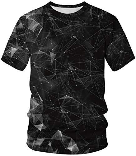 EUDOLAH Herren T-Shirts 3D Druck Bunt Galaxy Sport Rundhals Schmale Passform Motiv Tops A-A-Diamant Schwarz S