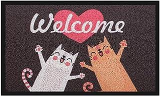 Welcome Door mat, Pragovle Funny Rugs for Outdoor Home and Garden (Cat, 18X30 inch)