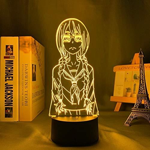 Food Wars Shokugeki No Soma Yukihira 3d Luz de Noche Portátil USB Recargable Blanco cálido y Cambio de Color RGB Tocar con Control Mesita de Noche Lámparas de Escritorio para Dormitorio