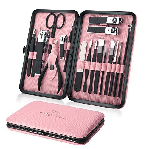 Tagliaunghie Set Professionale - Grooming Kit Strumenti per Manicure e Pedicure 18pcs con Box (Rosa)
