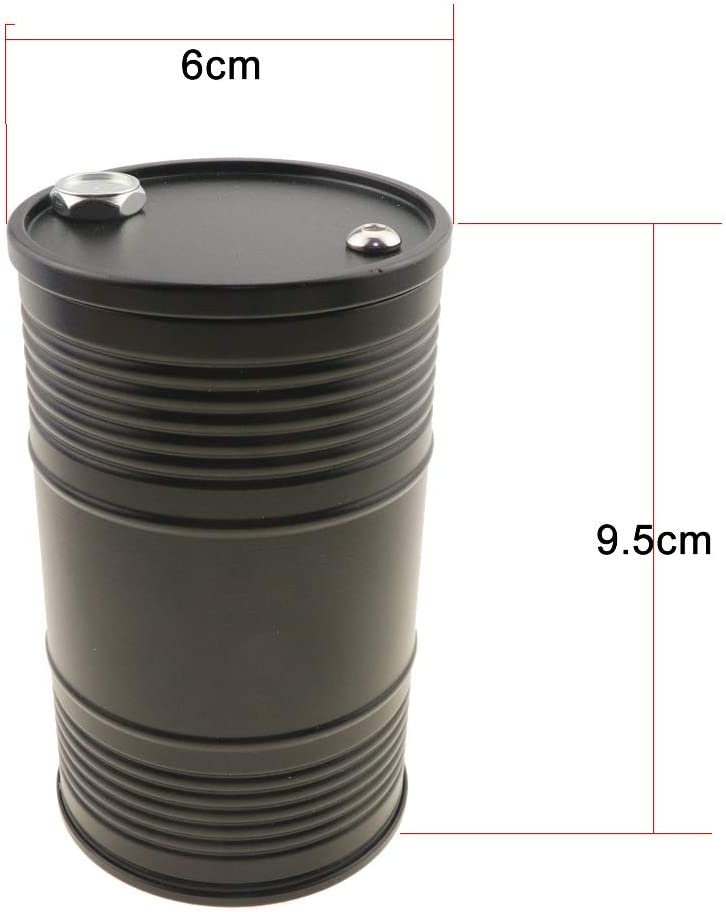 Metal Mini Simulation Oil Drum Gas Tank Container Decoration Fit for 1//10 Scale RC Crawler Toy Car-Car Ashtray Black Huwaimi RC Car Fuel Barrel
