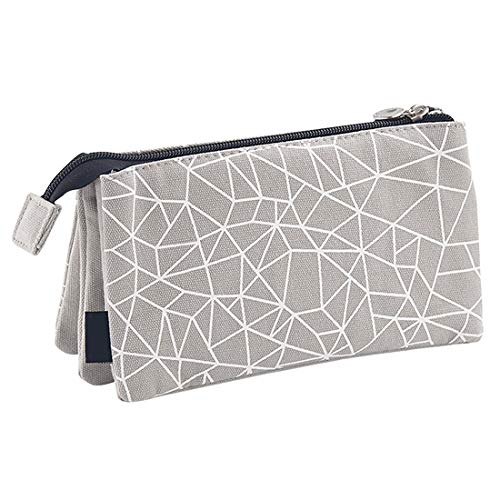 Oyachic Large Capacity Pencil Pen Case 3 Layers Stationery Pouch Zipper Cosmetic Bag Canvas Makeup Organizer Handbag Clutch