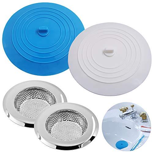 2 piezas Tapón de silicona Y 2 piezas Acero inoxidable Colador de fregadero de cocina, Senhai Succión plana Cubierta de drenaje Colador para cocina, baños y lavandería