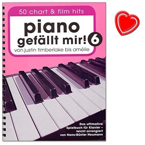 Piano bevalt me Band 6: 50 chart en film hits - van Justin Timberlake tot Amélie - Het ultieme speelboek voor piano - met kleurrijke hartvormige muziekklem