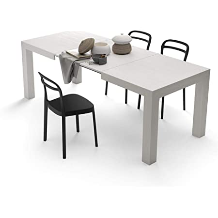 Mobili Fiver, Table Extensible Cuisine, Iacopo, Frêne Blanc, 140 x 90 x 77 cm, Mélaminé, Made in Italy