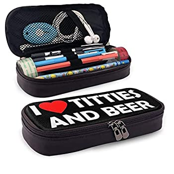 I Love Titties and Beer Leather Pencil Case Student Pencil Case Makeup Storage Box