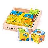 Bigjigs Toys Puzzle de Madera del Cubo de Safari