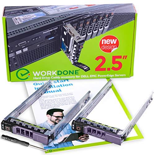 """WORKDONE Paquete 2 uds - Portaunidades/Bandeja HDD Caddy 2.5"""" para DELL PowerEdge - R320 R420 T420 T620 R620 R720 R720XD R820 R920 G176J - Adaptador Trineo Cambio en Caliente - Fácil Instalación"""