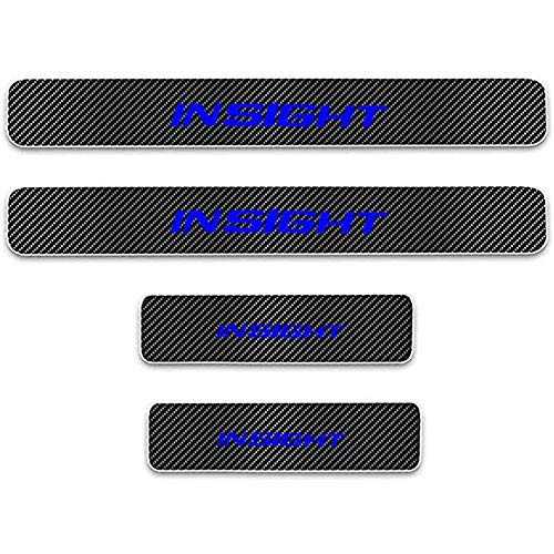 ZGYAQOO 4 Pcs Car Carbon Fiber Leather Door Sill Kick Plates for Hon-da Insight, Scuff Plate Guard Protector Trim Sticker, Threshold Cover Pedal Styling Accessories