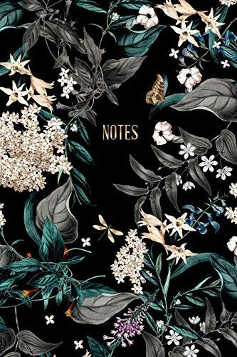 Notes: Notizbuch Midnight Garden | ca. DIN A5 (6x9\'\'), dot grid, 108 Seiten, florales Vintage Design | für Notizen, Termine und Skizzen - Ideal als Organizer, Kalender, Semesterplaner, Journal
