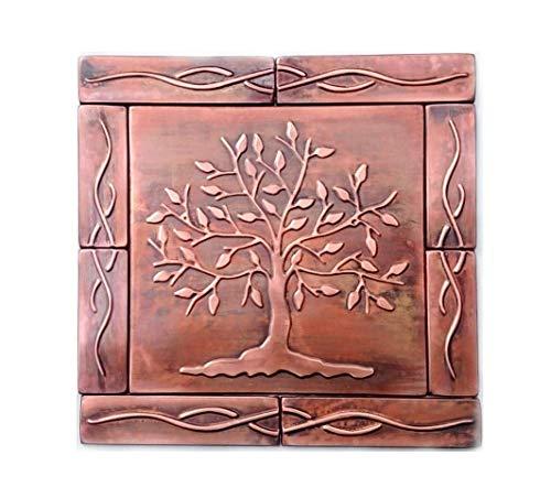 Tree of Life Copper Tiles, copper backsplash kitchen tiles