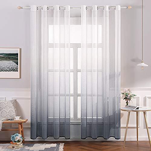 MIULEE 2 paneles de lino transparente cortina de gasa con ojales en la parte superior semitranslúcida, para el tratamiento de la ventana del recámara, sala de estar, ombre gris, 137 x 90 pulgadas