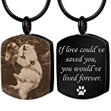 Bivei Personalized Urn Necklace for Ashes Engraving Photo & Text Cremation Jewelry Military Memorial Dog Tags Pendant for Humans/Pet(Black Military Dog Tag - Black & White Picture)