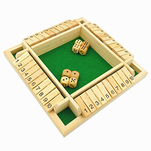 YH Poker 4Player Shut The Box Dice Game  4 Sided Wooden Board Game