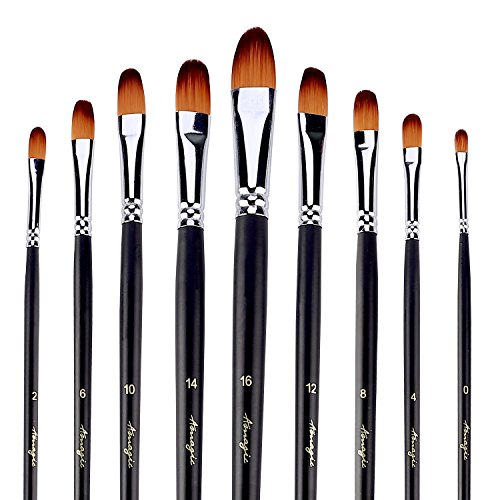 Amagic 9Pcs Filbert Art Paintbrush Set with Storage Container - Anti-Shedding Synthetic Nylon with Long Handle - Paint Brush for Watercolor, Acrylics, Ink, Gouache, Oil, Tempera