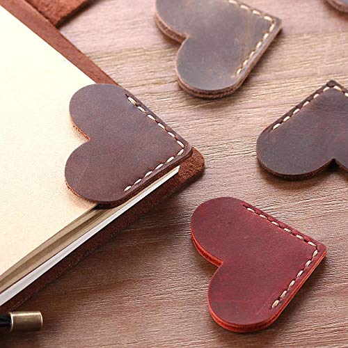 EPISKEYER 4 pezzi/set segnalibri in pelle vintage scritti a mano per libro, mini segnalibro per pagina in pelle ad angolo