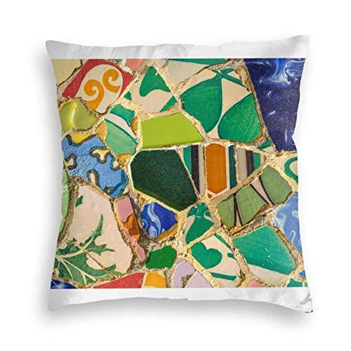 Funda de almohada, diseño de azulejos de Parc Güell en Barcelona, España, decorativa, cuadrada, 45,7 x 45,7 cm, para sofá, dormitorio, sala de estar