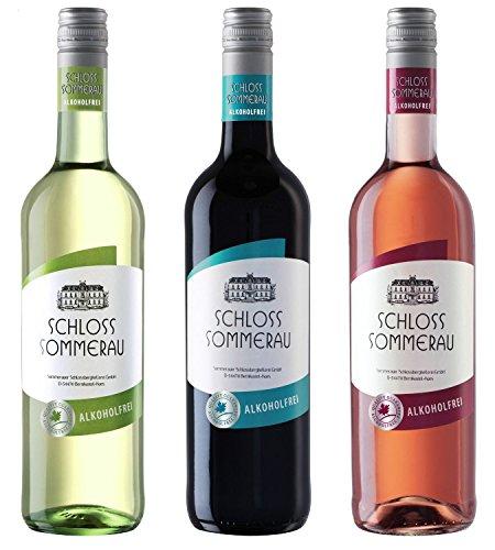 Schloss Sommerau Alkoholfreier Wein 3er Paket - Weisswein, Rotwein, Rosewein ohne Alkohol (3 x 750ml)