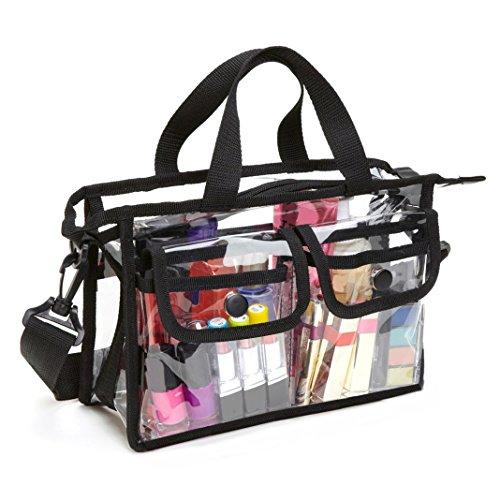 Beauty Case Trasparente da Viaggio, Moon mood Trucco Borsa a Mano Stoccaggio Sacchetto in PVC Grande Capacità Leggero Portatile Cosmetici Borsa a Tracolla per Donna Make up Shoulder Bag