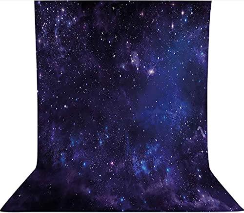 Fondo de fotografía de 3 x 3,6 m, inspirador telón de fondo de tela de microfibra con vista estelar, con bolsillo para barra (solo telón de fondo) para cumpleaños, bodas, fiestas temáticas