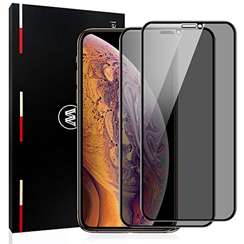 Mowei 2-Pack iPhone X/XS Privacy Screen Protector, Anti-Spy/Peeping [LG Privacy Filter] True Privacy Full Tempered Glass Screen Protector for Apple iPhone X/XS-5.8 inch [Upgraded]