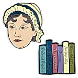 The Unemployed Philosophers Guild Jane Austen and Books Enamel Pin Set - 2 Unique Colored Metal Lapel Pins