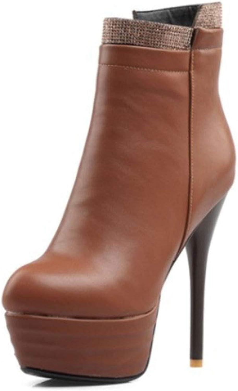 Women's Single Boots Artificial PU Super high Heel Fine Heel Round Head Low Boots Waterproof Platform Side Zipper Ankle Boots Autumn and Winter New