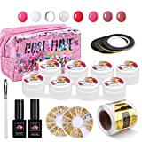 MYSWEETY Gel Ricostruzione Unghie Kit Semipermanente Unghie, LED/UV Polygel Set Costruttore 8 Scatole Builder Gel Costruttore Gel Con Top Coat E Base Coat