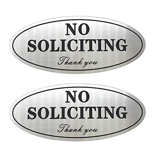 """No Soliciting Sign, Laser Engraved Plastic Adhesive Sign- 2.8"""" x 7"""", Brushed Silver with Black Letters Sign Perfect for Indoor and Outdoor Use-2 Pack"""