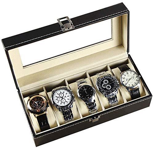 AJH Caja de Almacenamiento de Relojes Caja de Almacenamiento de 5 Ranuras Caja de Reloj Caja de presentación integrada Caja de joyería Tanque de colección Simple para el hogar Paquete