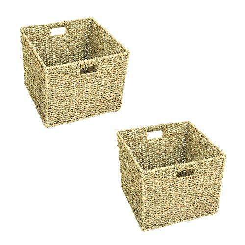 east2eden Square Seagrass Cube Magazine Shelf Shop Display Bathroom Storage Basket Hamper (Set of 2 Small)