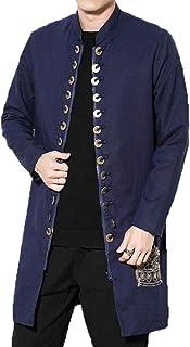 RkBaoye Men's Tang Suit Stand Collar Linen Blend Trench Coat Jacket